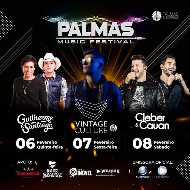 GUILHERME & SANTIAGO, VINTAGE CULTURE E CLEBER & CAUAN SÃO ATRAÇÕES CONFIRMADAS NO PALMAS MUSIC FESTIVAL 2020
