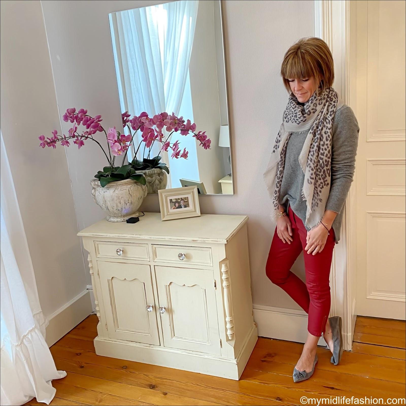 my midlife fashion, Massimo Dutti leopard print scarf, Zara boyfriend cashmere sweater, Isabel Marant Etoile biker jeans, j crew pointed tassel flats