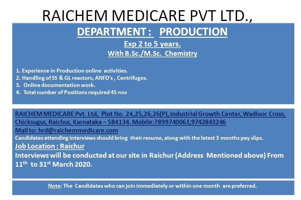 RAICHEM MEDICARE PVT. LTD – Walk-In Interview for Production from 11th to 31st Mar' 2020