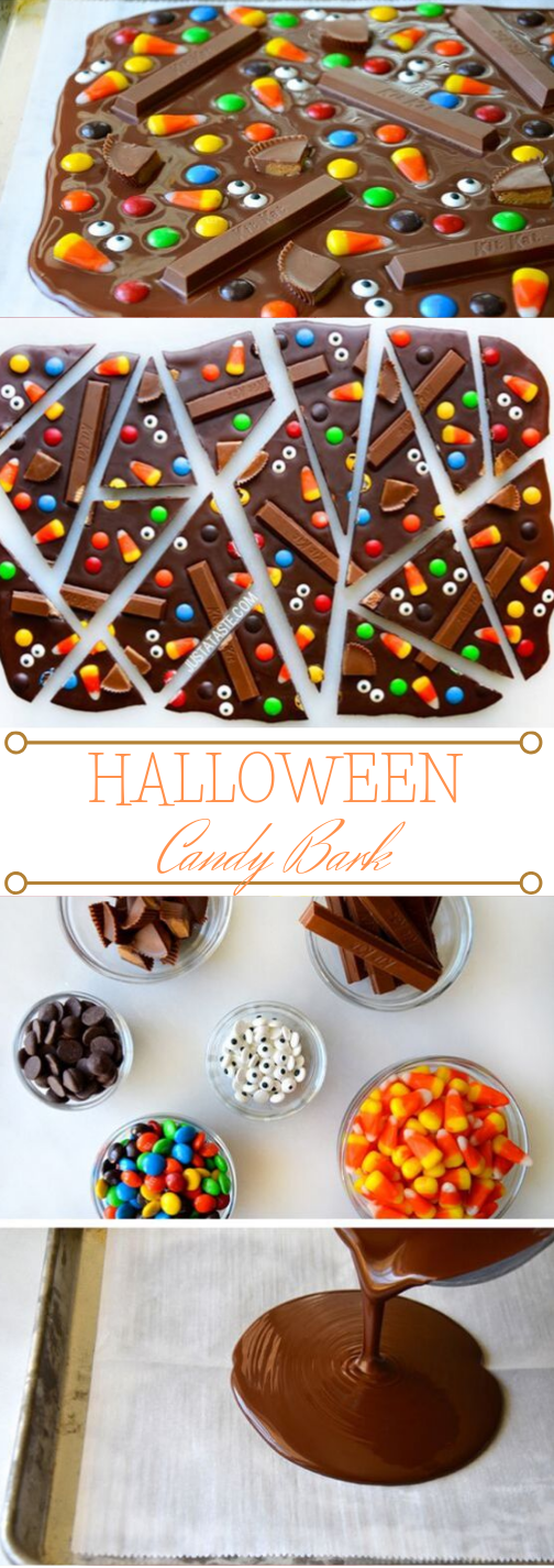 Halloween Candy Bark #desserts #halloween #creamy #easy #party