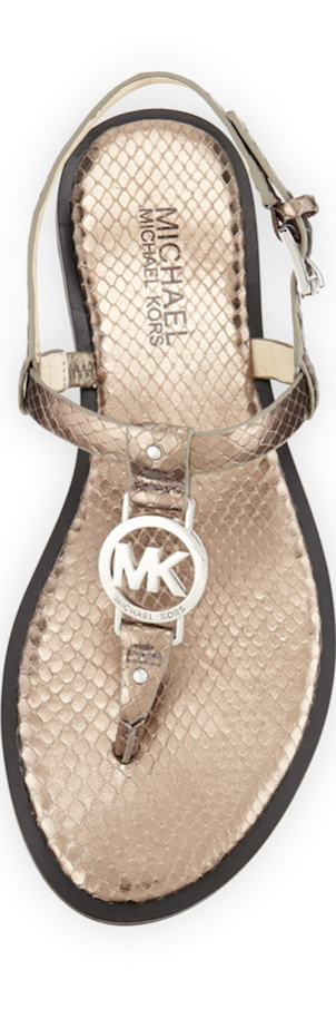 Michael Kors Sondra Snake-Embossed Leather Sandal