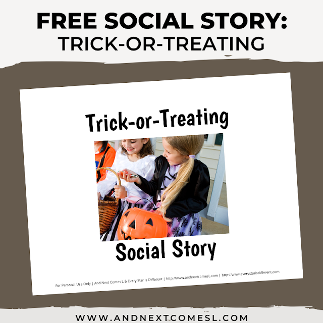 Free Halloween social story about trick-or-treating