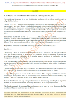 special resolution for adoption of new set of articles of association as per companies act 2013