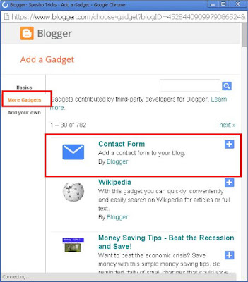 Add Contact US Form in blogger