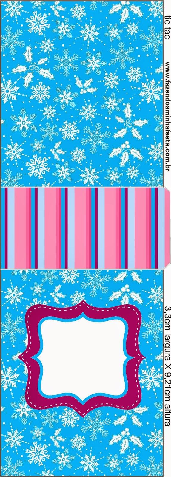 Etiqueta Tic Tac para imprimir gratis de Frozen en Morado y Celeste para Navidad.