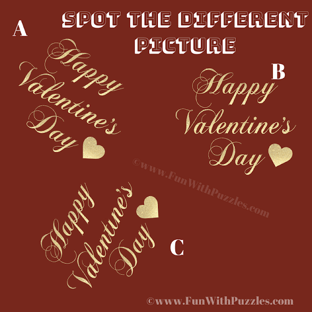 In this Picture Puzzle your challenge is to find the Happy Valentine's Day message which is odd one out.