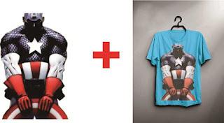 Desain Kaos Captain America CorelDraw