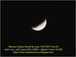Eclipse Parcial de Luna 16 de julio de  2019