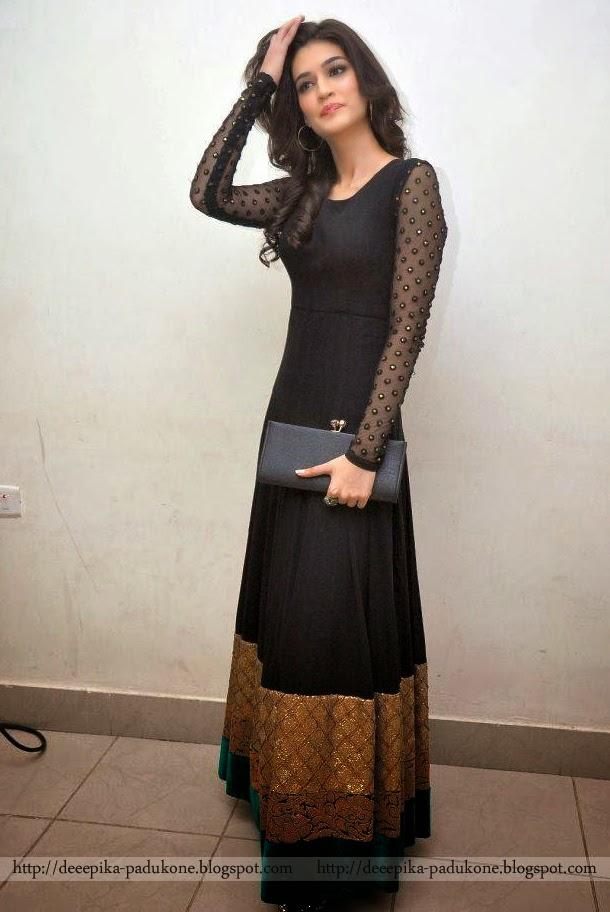 Cute Ladies Hd Wallpaper Deepika Padukone Kriti Sanon Black Dress Photos