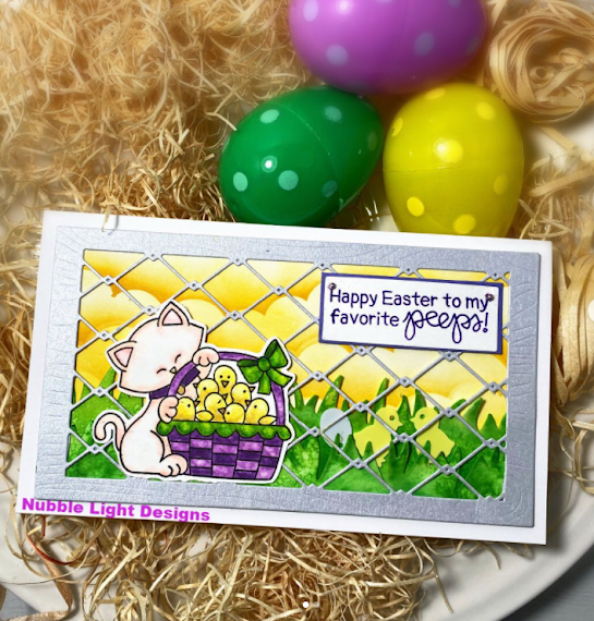 Happy Easter to my favorite peeps by Priscilla Joseph features Newton's Peeps by Newton's Nook Designs; #newtonsnook, #inkypaws, #eastercards, #cardmaking, #catcards