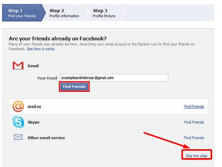 gmail create account facebook