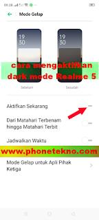 Cara mengaktifkan fitur dark mode Realme 5