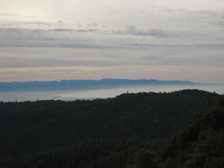 View of Monterey Bay from Loma Prieta, overcast skies