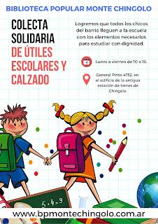 La Biblioteca Popular Monte Chingolo lanza una nueva colecta solidaria de útiles escolares y calzado