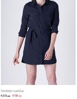 Vestido camiseiro preto em saldos na Blanco (19,99 em vez de 39,99€)