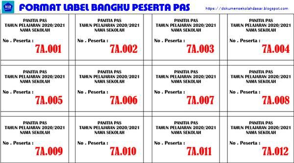format label bangku peserta pas