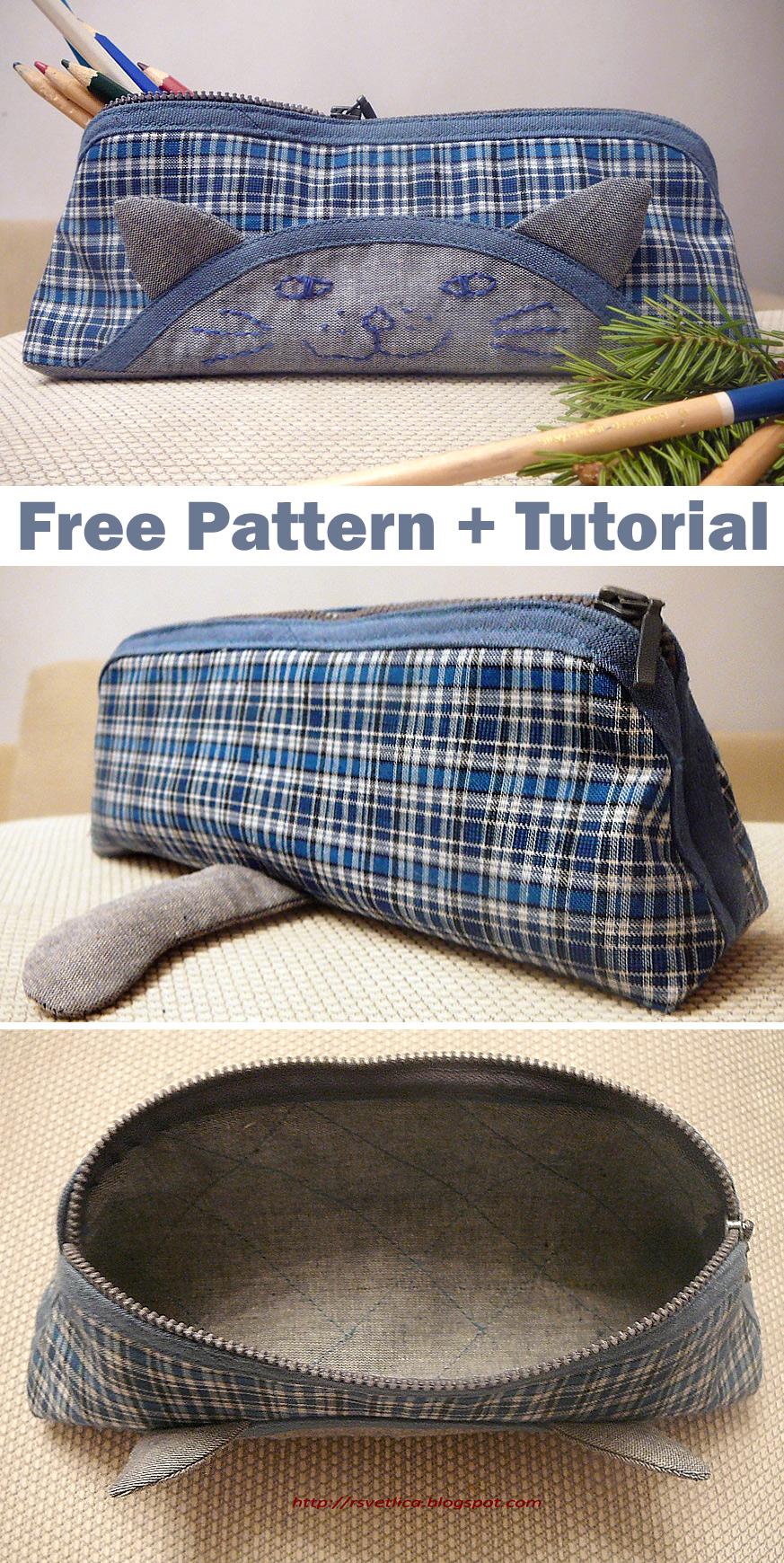 Pencil Case Cat. Free Pattern + Tutorial