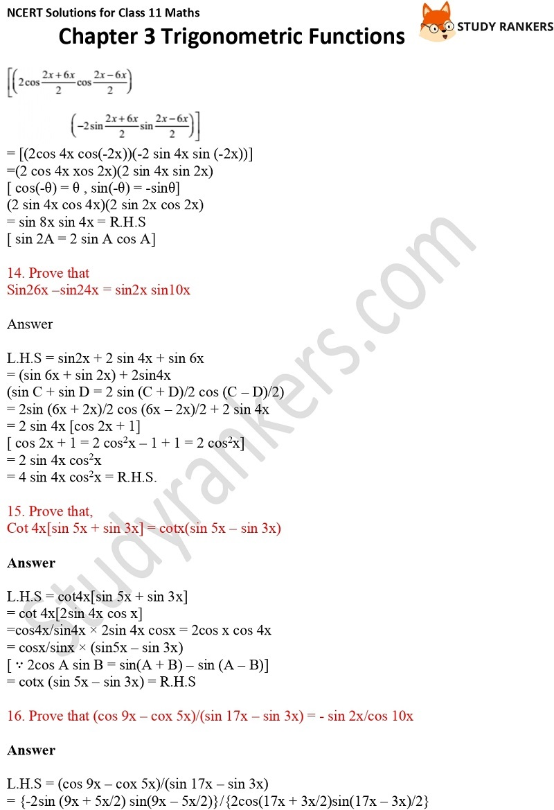 NCERT Solutions for Class 11 Maths Chapter 3 Trigonometric Functions 11