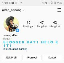 cara membuat tulisan biru di bio instagram