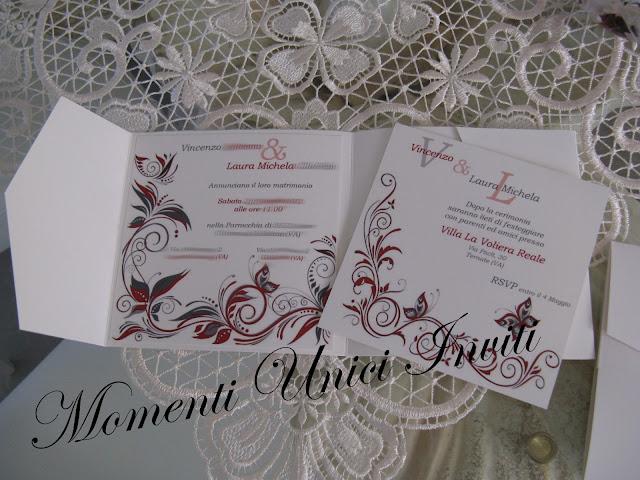 IMG_5149 Partecipazione Pocket in cartoncino perlescente tonalità grigio e rossoColore Grigio Colore Rosso Partecipazioni Pocket