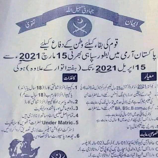 Latest Army Jobs 2021