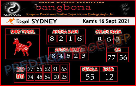 Prediksi Bangbona Sydney Kamis 16 September 2021