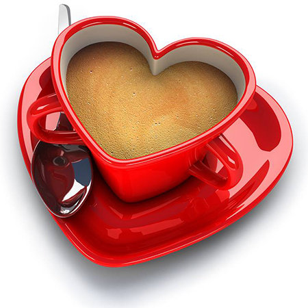 Heart-shaped coffee cup