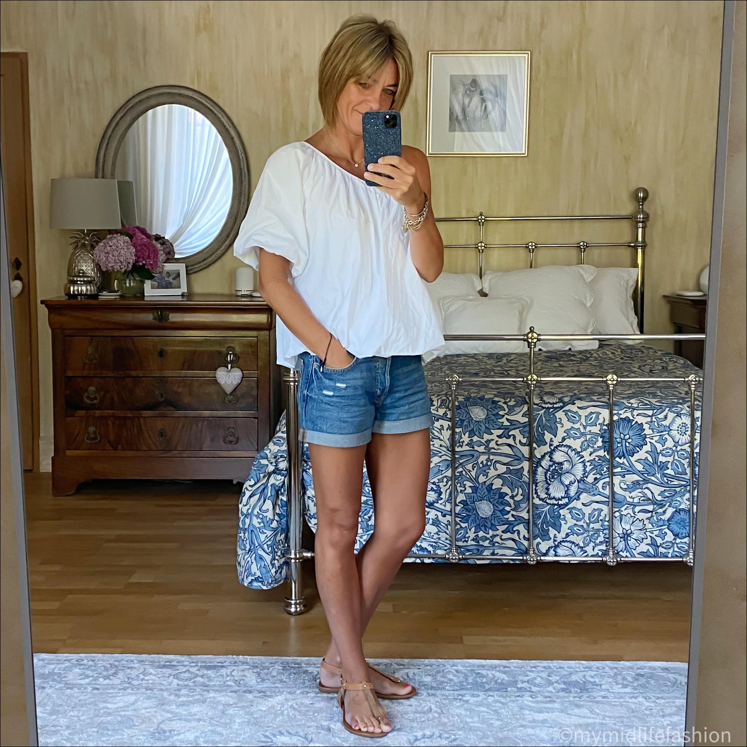 my midlife fashion, zara asymmetric top, h and m conscious denim boyfriend shorts, Carvela leather thong sandals