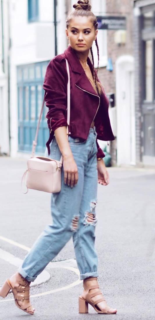 street style addiction: bag + rips + jacket + heels