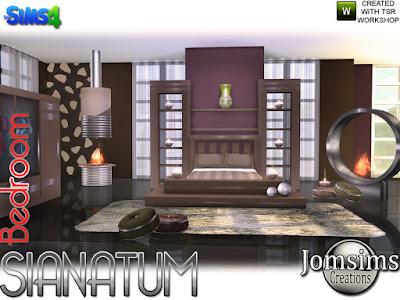 Sianatum bedroom Сианатум спальня для The Sims 4 Здесь для коллекции, Sianatum спальня в очень современном стиле. 1 двуспальная кровать 1 комод. 1 часть 2 для кровати. 1 изголовье кровати. 1 ковер 1 камин 2 цвета. 1 камин металлический. 1 ваза деко. 1x2 подушки для кровати. 1x2 круглый пол cushiosn deco. 1 металлический цилиндр для потолочной стены, вы используете его для средних стен. весь набор создан в 4 оттенках. Автор: jomsims