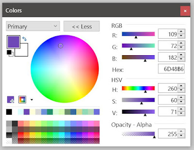 A color menu screen featuring a row of saved colors (palette), a color wheel with white in the center and a saturated rainbow at the edge, sliders for RGB and HSV-alpha, and a text box for entering a Hex color code