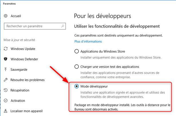 Windows 10 - Activation du mode pour les développeurs