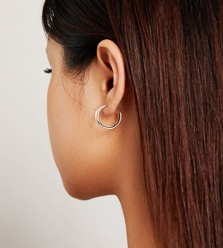 造型極簡風交錯 925純銀耳環