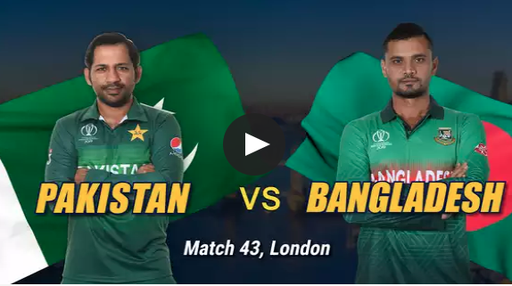 Pakistan vs Bangladesh ,Live Streaming free, Match 43, India opted to bat