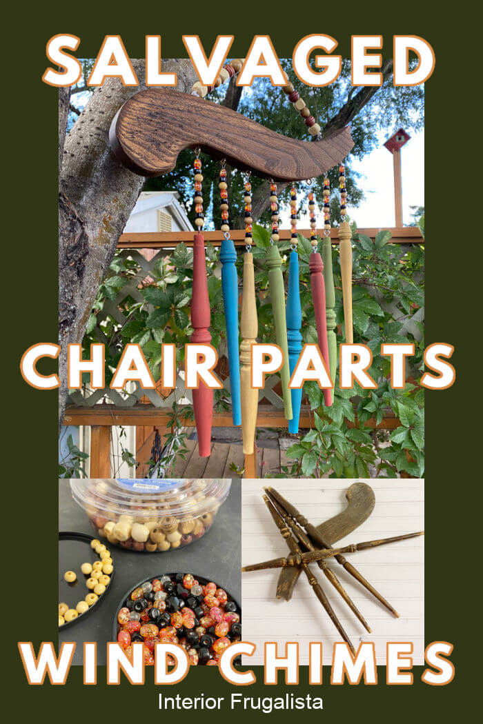 How to repurpose salvaged spindles and an arm from an old wooden chair into rustic outdoor chair spindle wind chimes that cost very little to make. #spindlewindchimesdiy #woodenwindchimesdiy #windchimesdiy #repurposedchairsdiy