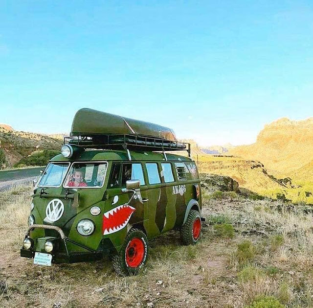Sharktooth Camo VW Split Screen Baja Bus