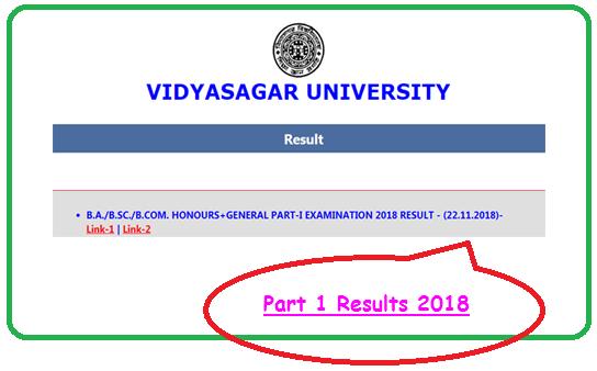 Vidyasagar University 1st Year Result 2018
