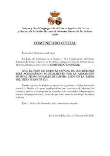 La A.M. Pedro Morales de Lopera también estará presente en Jaén el Viernes Santo