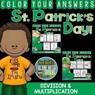 St. Patrick's Day Color By Number Multiplication & Division Bundle