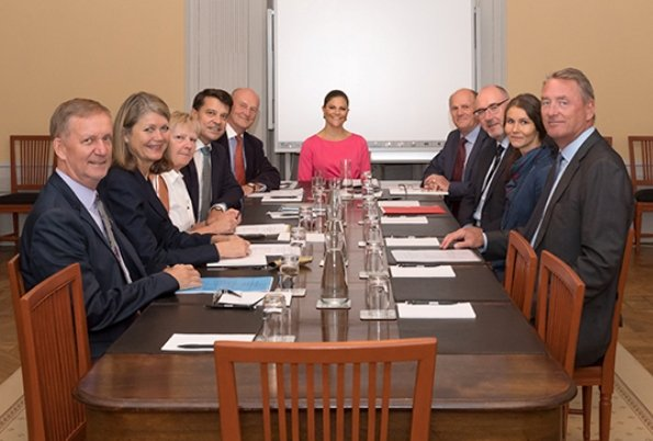 Princess Victoria wore Escada virgin wool dress at Crown Princess Margareta's Veteran Reserve Foundation meeting.
