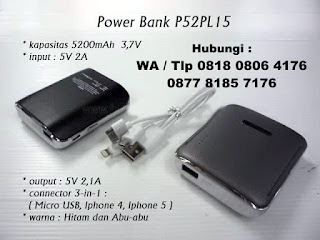 Jual Souvenir Promosi - Powerbank Plastik Compact 5.200mAh P52PL15