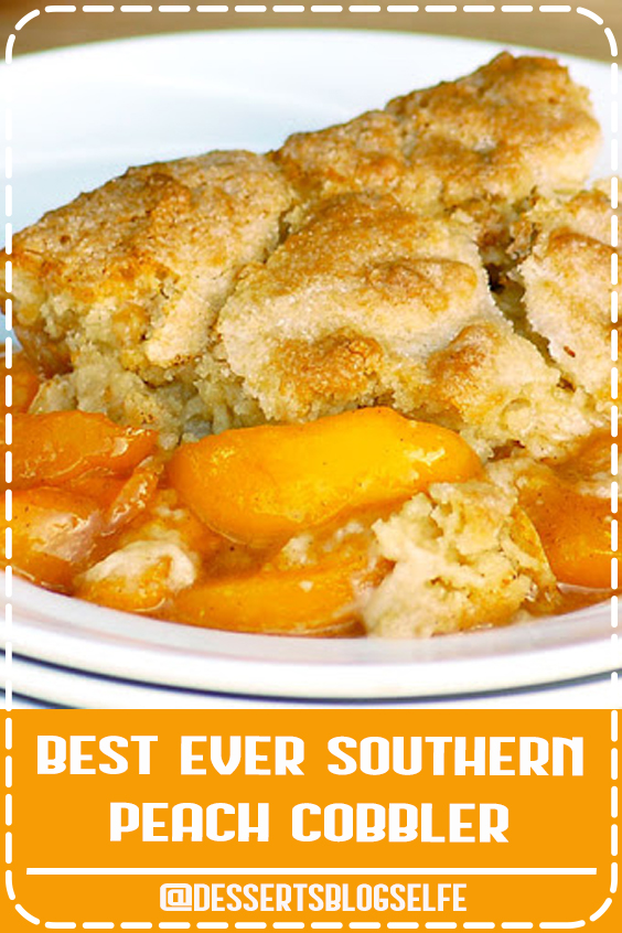 Best Ever Southern Peach Cobbler is the simple recipe of your dreams. Fresh sweet peaches baked in a spiced sugar mixture and topped with the most amazing cobbler topping. Sprinkled with sugar for a caramelized topping it is heaven on a plate. #DessertsBlogSelfe #peachcobbler #summer #Best #simplerecipe #SummerDesserts