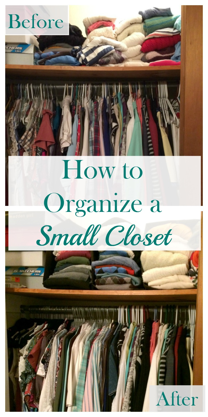 real girl 39 s realm how to organize a small closet for under 50. Black Bedroom Furniture Sets. Home Design Ideas