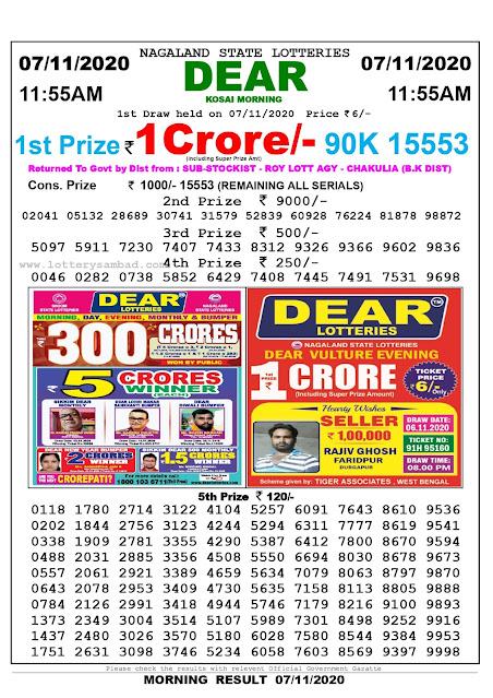 Lottery Sambad 07-11-2020, Lottery Sambad 11.55 am results, Nagaland Lottery Results, Lottery Sambad Today Results Live, Morning results