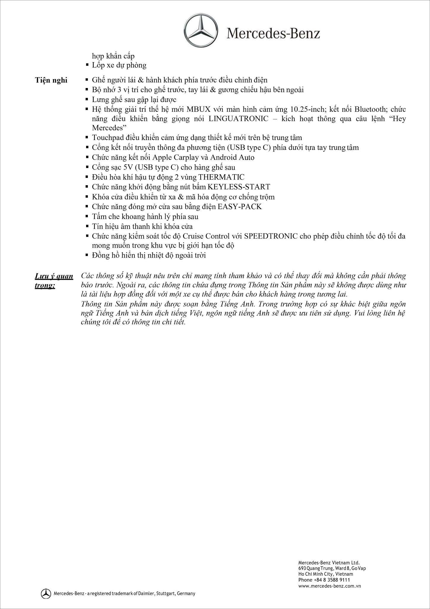 Bảng thông số kỹ thuật Mercedes GLC 200 2021
