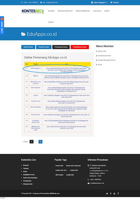 Ilustrasi Daftar Pemenang Kontes SEO EduApps Indonesia - Dipopedia