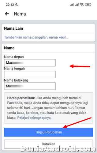 Input nama baru Profil FB