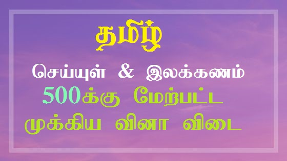 Tamil Seiyul and Ilakkanam One Word Question and Answer
