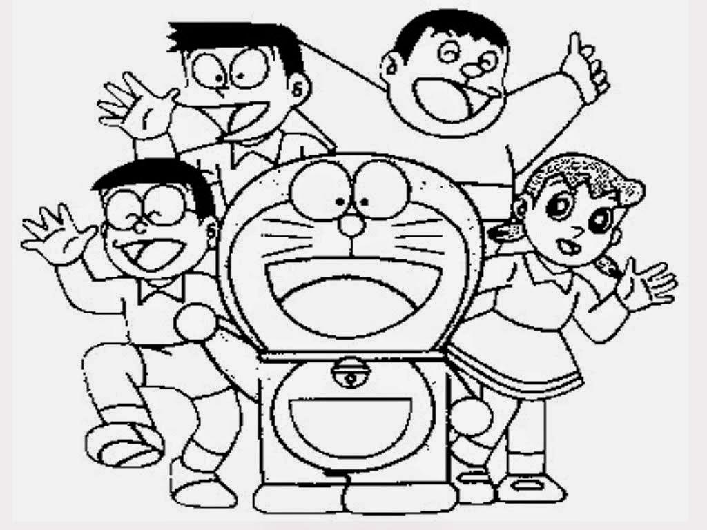 Gambar Mewarnai Nobita dan Doraemon Gambar Mewarnai Lucu