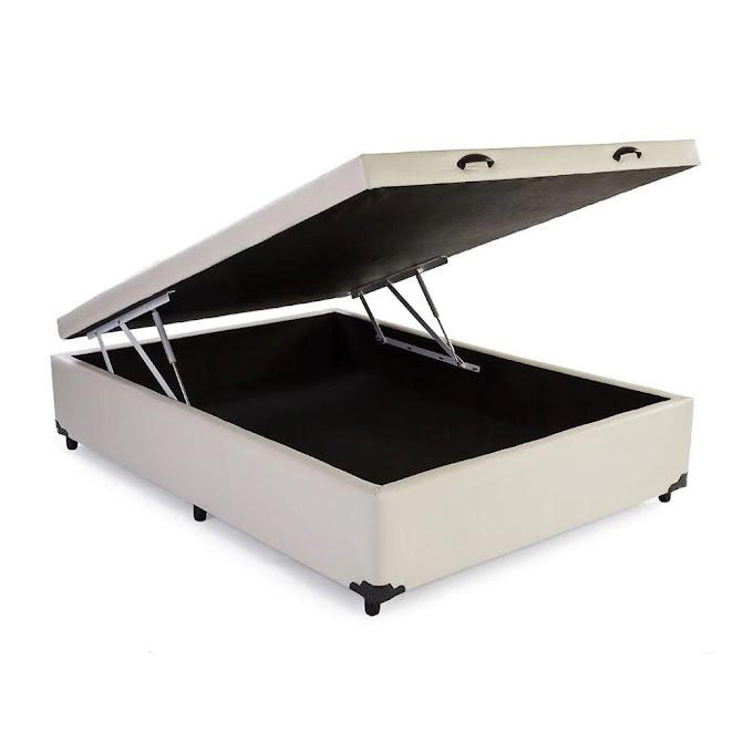 Base Box Baú Casal SP Móveis Sintético Bege - 39x138x188